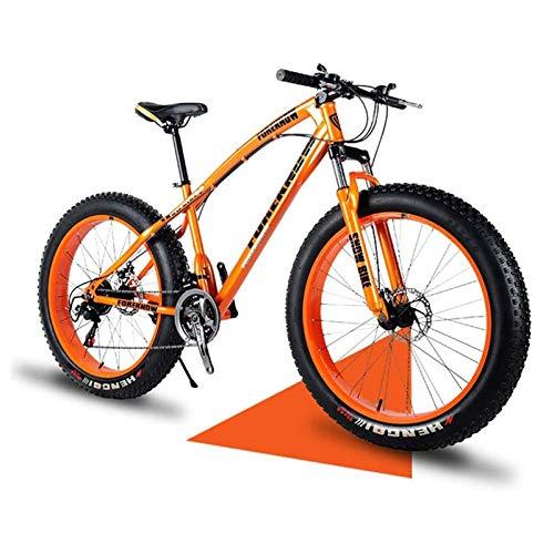 QIU 26'/24'/20' Mountain Bikes,Adult Fat Tire Mountain Trail Bike,7 Speed Bicycle,High-carbon Steel Frame Dual Full Suspension Dual Disc Brake (Orange) (Color : Orange, Size : 24')