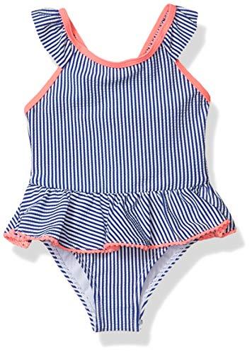 Kensie - Girl's Outerwear Baby Kensie Seersucker Stripe Ruffle Trim One-Piece Swimsuit, Navy, 24M