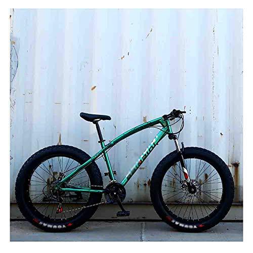 LILIS Bicicleta Montaña Montaña de la Bicicleta MTB Adulto Agua Motos de Nieve Bicicletas for Hombres y Mujeres 24IN Ruedas Ajustables Velocidad Doble Freno de Disco (Color : Green, Size : 7 Speed)