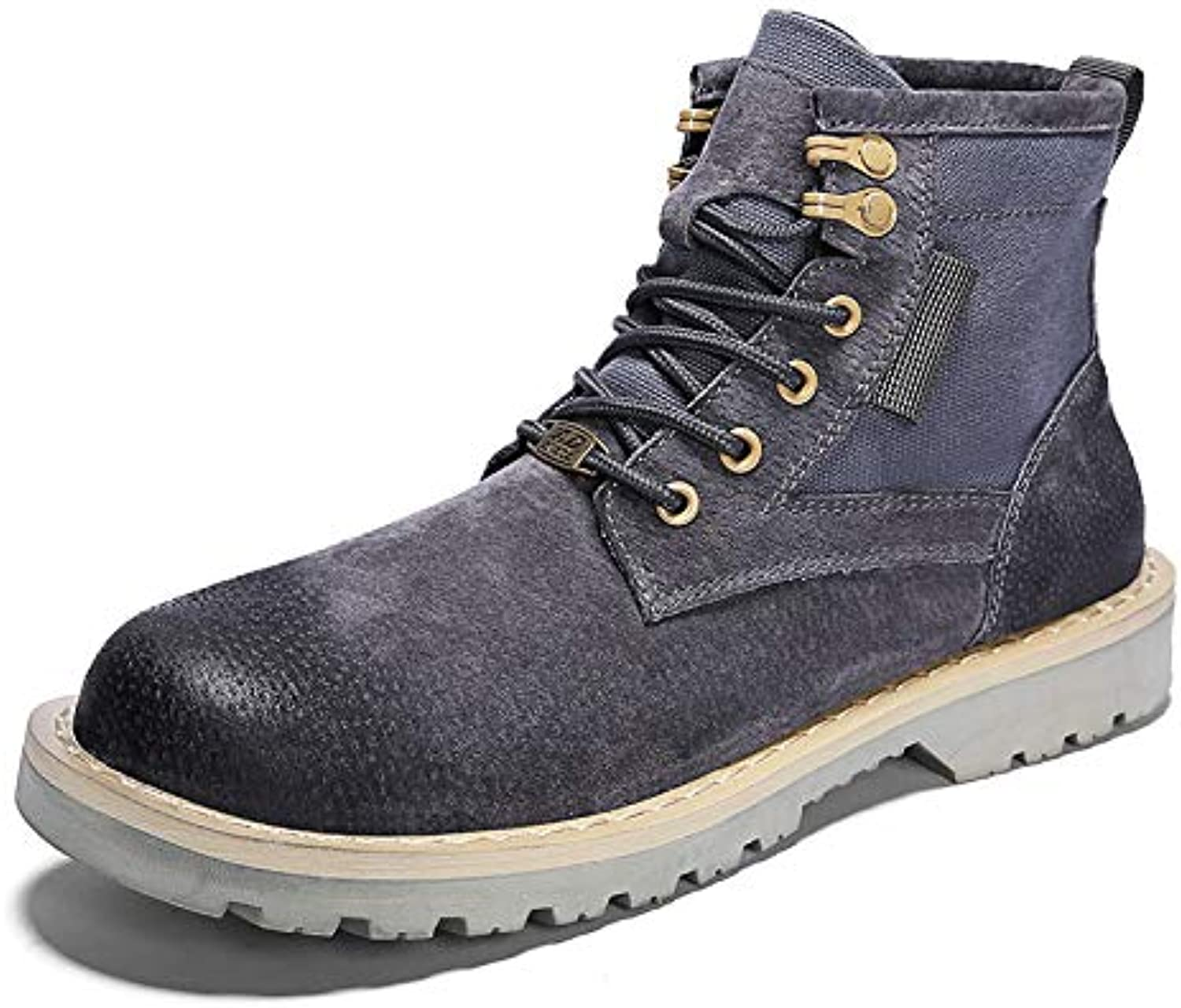 LOVDRAM Men'S shoes Autumn And Winter Help Martin Boots Men'S Winter shoes Fashion Men'S Leather Boots Fashion shoes