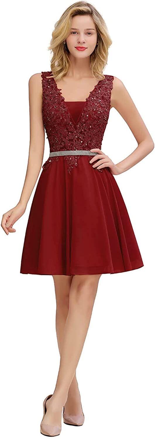 Meowmming Women's Sleeveless V Neck Cocktail Dress Lace Applique Beaded Party Gown