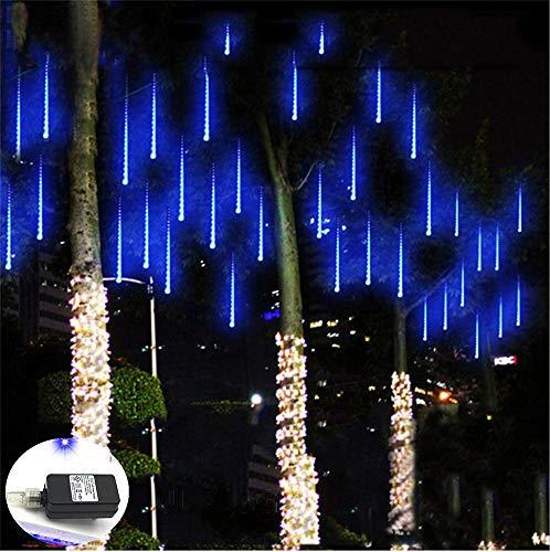 Weepong Falling Rain Lights UL Certified Meteor Shower Lights 30cm 8 Tubes 144 LED Rain Drop Lights Snow Falling Lights Cascading Icicle String Lights for Christmas Halloween Tree Garden Outdoor Blue