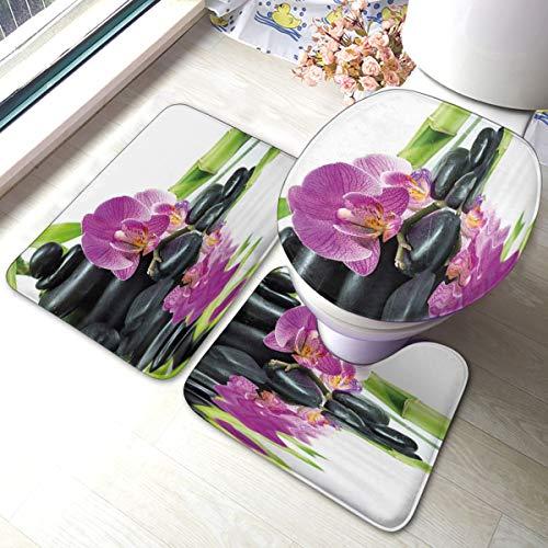 ghkfgkfgk Asiatische Zen-Entspannungsmassage mit Steinen und lila Orchideen-Badteppich-Set 3-teilig, Rutschfester, saugfähiger Badteppich, U-förmige Toilettenmatte, verlängerter Toilettendeckelbezug
