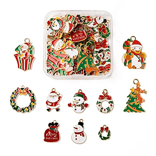 PandaHall Colgantes de esmalte de Navidad Colgantes de aleación cuelgan encantos granos para collar pendiente Llaveros Fabricación de joyas, Esmalte,