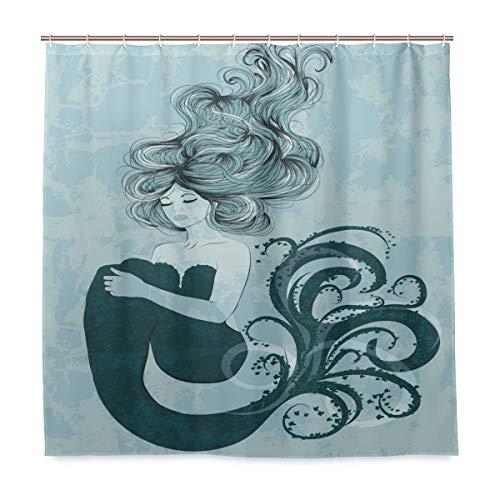Wamika Rideau de Douche en Tissu résistant à la moisissure avec 12 Crochets 183,0 x 183,0 cm
