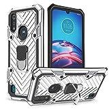 COOVY® Custodia per Motorola Moto E6s (2020) Case PC + TPU Silicone Extra Forte, Anti-Shock, Funzione Stand + Supporto Magnetico Compatibile | Argento