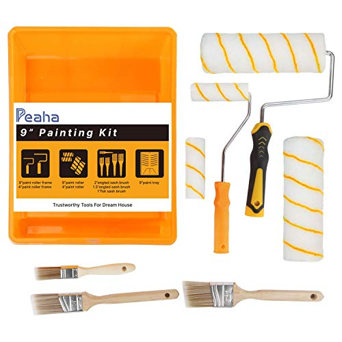 Paint Roller Kit 10pcs/Set Paint Roller Brush for Walls Peaha 9 Inch Paint Roller Brush Kit with Frames,Paint Roller Covers,Paint Tray,Angled Brush,Professional Painting