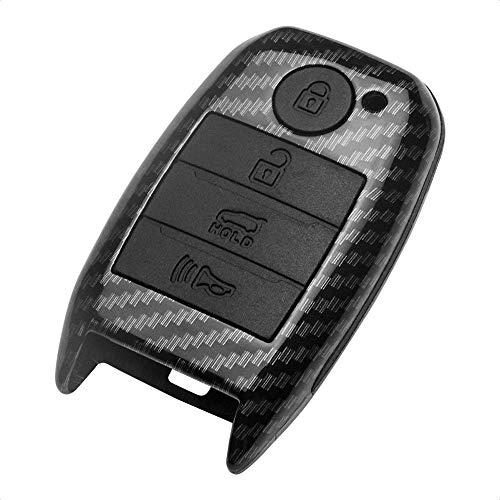 TANGSEN Key Fob Case for KIA OPTIMA RIO SORENTO SPORTAGE 4 Button Keyless Entry Remote Black Carbon Fiber Pattern ABS Black Silicone Cover