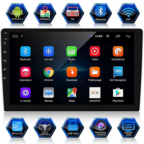 ANKEWAY 10,1 Pollici Android 9,1 Autoradio 2 DIN GPS Navigation Bluetooth/WiFi Car Stereo, 1080P HD Touch Screen Sistema Multimediale per Auto(1G+16G)+WiFi/BT Tethering Internet+Rear View Fotocamera