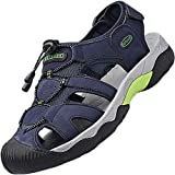 Topwolve Sandalias Cuero Deportivas para Hombre Verano Playa Senderismo Zapatos Antideslizante Trekking Casual Zapatos de Montaña Azul 42EU