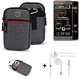 K-S-Trade® Gürtel-Tasche + Kopfhörer Für Allview P9 Energy Lite (2017) Handy-Tasche Holster Schutz-hülle Grau Zusatzfächer 1x