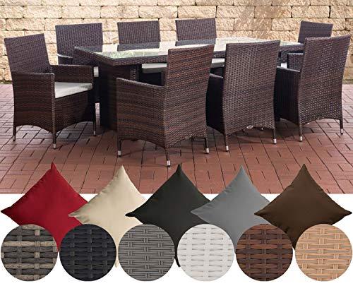 CLP Polyrattan-Sitzgruppe Avignon Big | Garten-Set mit 8 Sitzplätzen | Komplett-Set bestehend aus: 1x Tisch und 8 Gartenstühlen und Sitzkissen,...