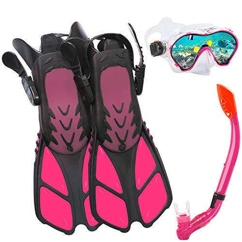 Ertong Children Snorkel Set Kids Scuba Diving Equipment Packages Including Adjustable Swimming Fins/Flippers + Automatic Breathing Tube + Tempered Glass Lens Snorkeling Mask (Red)