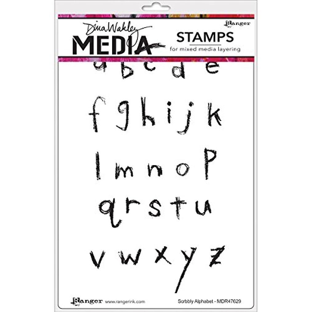 Ranger MDR-47629 Scribbly Alphabet Dina Wakley Media Cling Stamps, 6