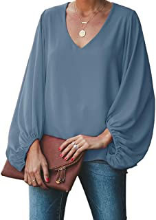 Womens Oversized Lantern Sleeve Chiffon Blouse Tops Casual Loose V Neck Shirts Pullover