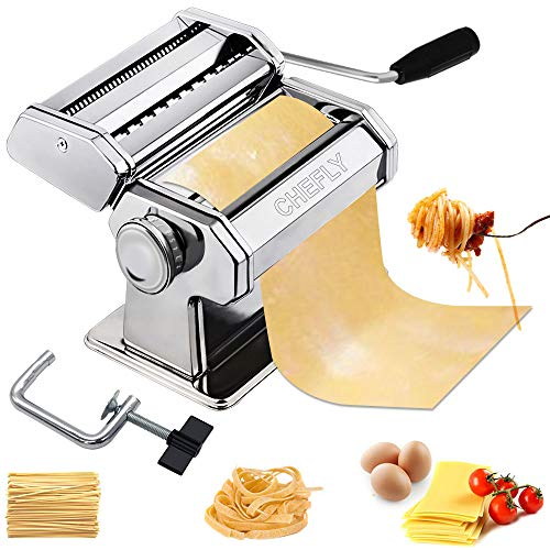 CHEFLY Sturdy Stainless Steel Pasta Maker - 9 Thickness Settings Dough Roller & 2 Blades Noodle Cutter & Fixation Clip for Fresh Homemade Lasagne Fettuccine Spaghetti P1801