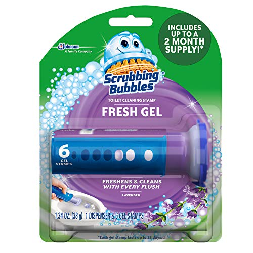Scrubbing Bubbles Fresh Gel Toilet Cleaning Stamp, Lavender, Dispenser with 6 Stamps