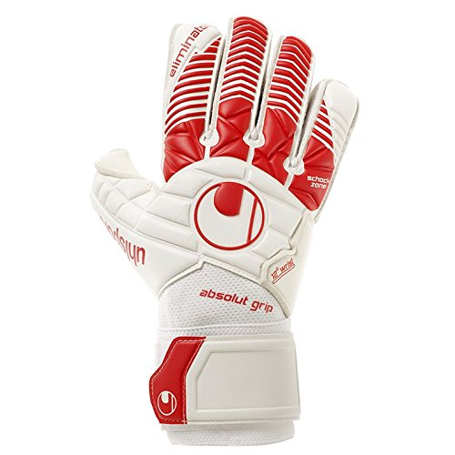 uhlsport Herren Eliminator ABSOLUTGRIP Torwart-Handschuhe, weiß/Rot, 10.0