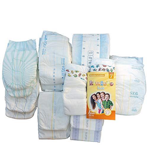 Kinderwindeln-Musterpaket - Größen 7 + XS (ca. 50-70 cm) - 8 Sorten -16 Windeln - ca. 4-10 Jahre
