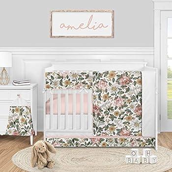 Sweet Jojo Designs Vintage Floral Boho Baby Girl Nursery Crib Bedding Set - 5 Pieces - Blush Pink Yellow and Green White Shabby Chic Rose Flower Farmhouse