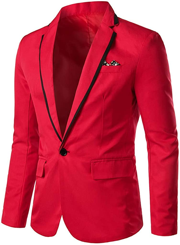 Casual Men Slim Fit Blazer Stylish Casual Business Coat One Button Wedding Party Outwear Coat Suit