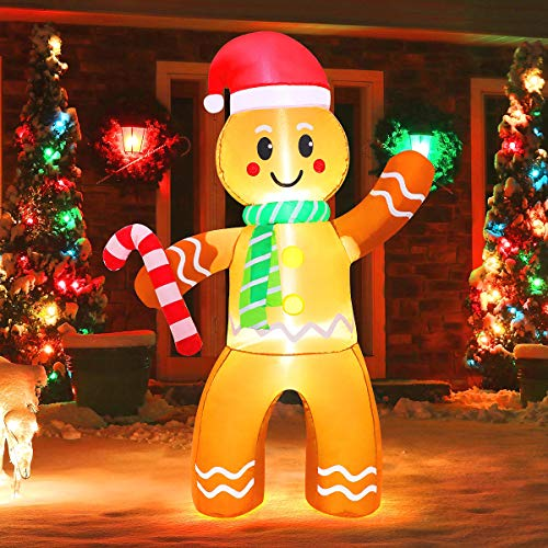 MAOYUE Christmas Inflatables 5Ft Christmas Decorations Outdoor Christmas Gingerbread Man Blow Up Christmas Decorations Built-in LED Lights with Tethers, Stakes for Outdoor Yard Lawn