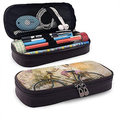 PU Leder Bleistift Tasche Reißverschluss Schreibwaren Tasche, Kinder Fahrrad A Riding G-ra-ffiti Art Wallpaper