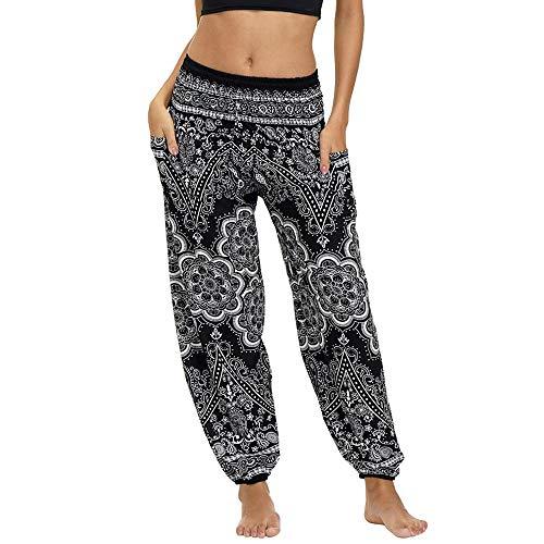 Nuofengkudu Mujer Pantalones Hippies Tailandeses Estampado Verano Cintura Alta Elastica con Bolsillos para Yoga Pants Casual (Flor Negra,Talla única)