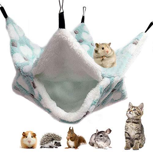 zfdg Pequeños Cama Hamaca de Mascotas, Hamster Hamaca Doble Capa, Mascotas Doble Capa Hamaca, para Hurón Ardilla Hámster Rata Otros Animales Pequeños Jugando Durmiendo (Verde)