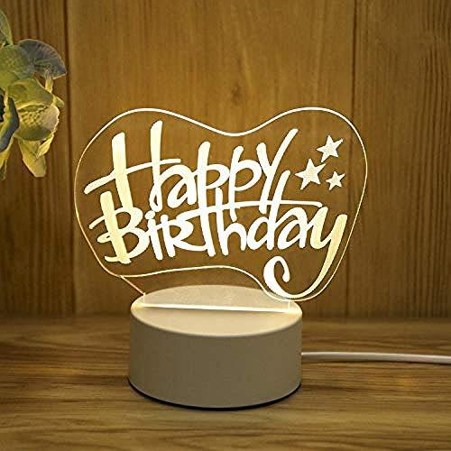 wangzj Luces de noche Luces de interior Lámpara de noche-Feliz cumpleaños Luces de la habitación Lámpara de mesita de noche Lámpara de mesa 3D Regalo