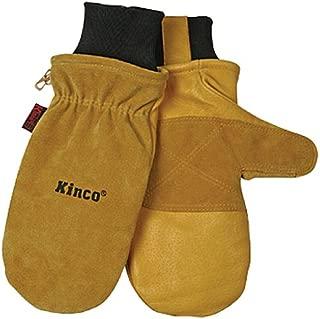 KINCO 901T-M Men's Pigskin Skin Gloves, Mittens, Heat Keep Thermal Lining, Draylon Thread, Medium, Golden
