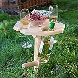 Weinregal Holz für Picknick mit klappbarer Platte, Picknicktisch mit bequemer Koffer, Wein Geschenk Idee, Campingtisch Outdoor Tisch, Camper, Wanderer, Angler sowie Outdoor begeisterte, Achteck-Licht