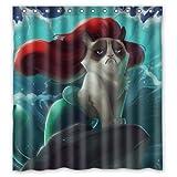 CHATAE Sexy Mermaid Grumpy Cat Custom Bad Vorhänge Wasserdicht Polyester Duschvorhang 180cm x 200cm