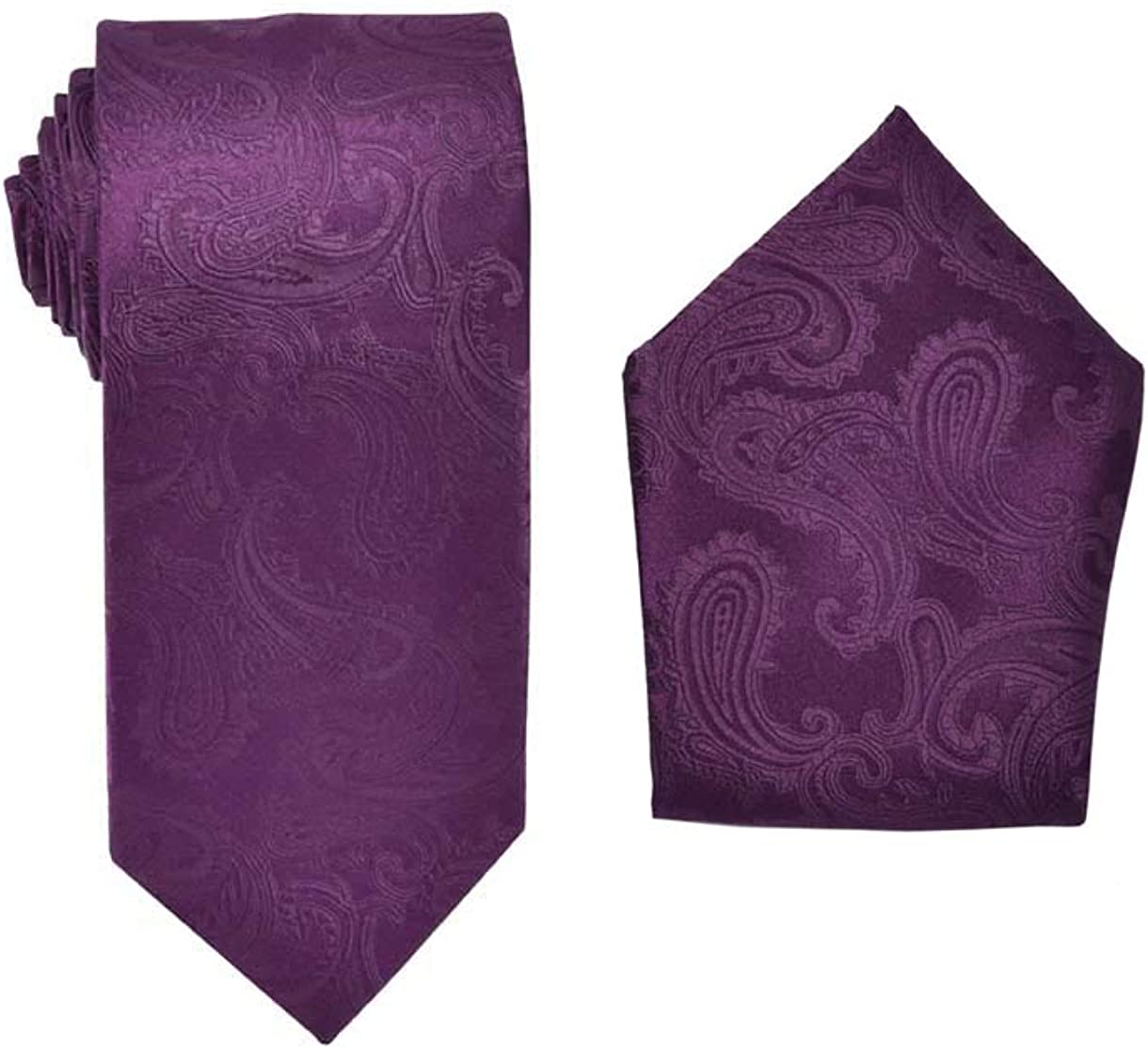 Men's Premium Paisley Patterned Necktie with Matching Pocket Square Set For Suits & Tuxedos-Many colors