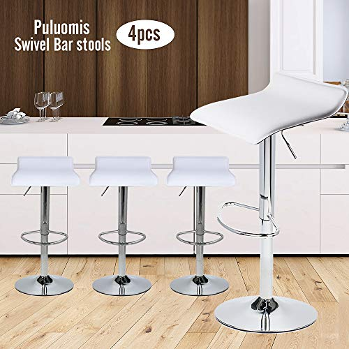 Set of 4 Adjustable Swivel Barstools, PU Leather with Chrome Base, Gaslift Pub Counter Chairs,White