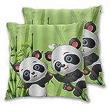 LONSANT Fundas de Cojines 55x55cm,Panda de Animales Jugando en el Bosque de bambú,decoración Cuadrado Fundas de Almohada Funda de cojín para sofá Dormitorio,Pack de 2