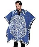 Authentic Mexican Poncho Reversible Cobija Blanket - Aztec Calendar (Blue)