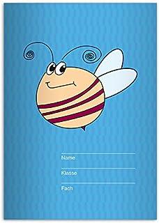 Kartenkaufrausch 16 lustige DIN A5 Schulhefte, Schreibhefte mit großer, fleißiger Biene, hellblau Lineatur 6 (blanko Heft) B011J8NXCI  Praktisch und wirtschaftlich