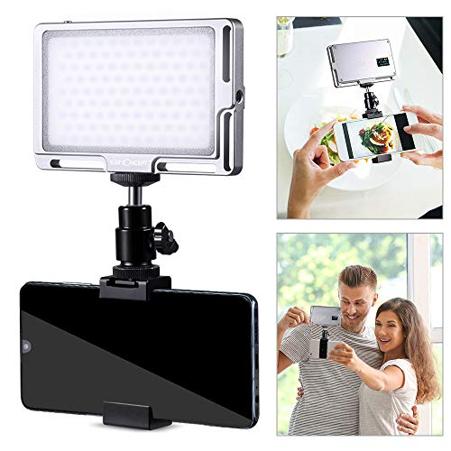 K&F Concept Panel Luz LED para Teléfono Móvil, Foco Luz Led con Batería 2800mAH/Temperatura del Color 3000K-6500K/CRI ≥96/Hot Shoe/Clip para Palo Selfie, Instagram Fotografia, Youtube Tiktok Video