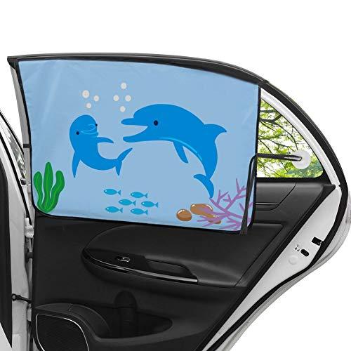 MINLUK - Parasol universal para coche con ventosa para coche, protector solar para coche, para bebé, diseño de delfín