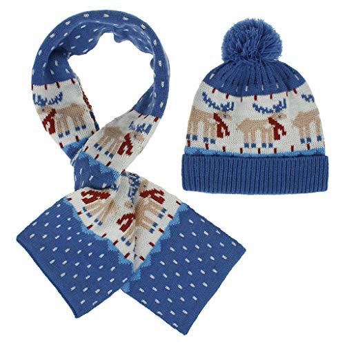 wenjuersty Strickmütze für Kinder, mit Schal und Mütze, für den Winter, warm