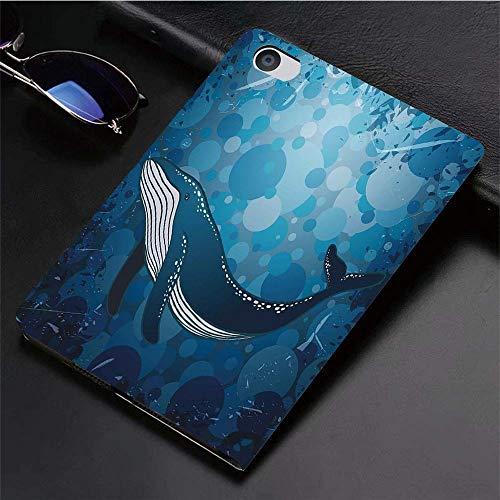 iPad 5./6. Generation Hülle, kompatibel iPad 9.7 2018/2017 Hülle,Whale, Vintage Whale Poster Motiv auf Marine Grunge Hintergrund Retro Ocean Graphic, Benzi,Slim Shell dünne Schutzhülle Cover Tasche