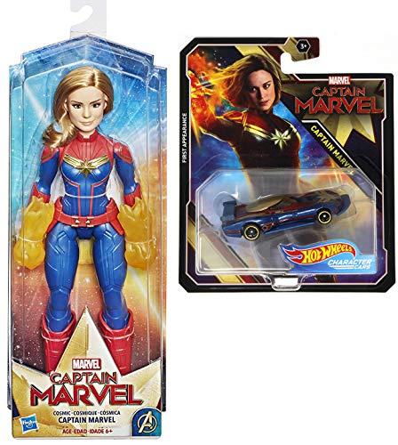 Captain Marvel Captain Marvel Movie Cosmic Captain Marvel Super Hero Doll & Car Pack Avengers Hero Set Hot Wheels Captain Marvel Race Car