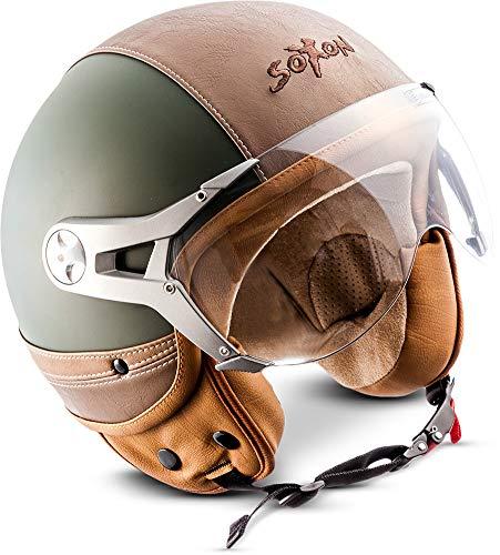 "Soxon® SP-325 Urban ""Green"" · Jet-Helm · Motorrad-Helm Roller-Helm Scooter-Helm Moped Mofa-Helm Chopper Retro Vespa Vintage Pilot · ECE 22.05 Visier Leather-Design Schnellverschluss Tasche L (59-60cm)"