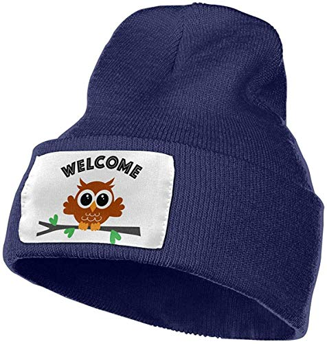 Voxpkrs Welcome Owl Women and Men Skull Caps Winter Warm Stretchy Knitting Beanie Hats