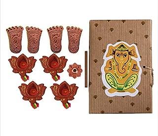 storeindya Diya Diwali Decorations Gifts Kit Hamper with Set of 4 Earthen Diyas, Incense Stick with Holder