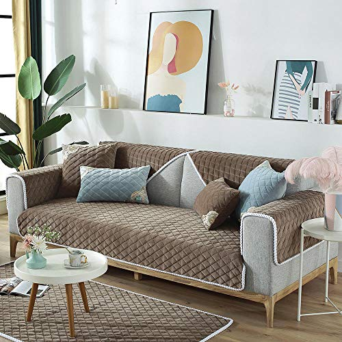 Suuki Children Sectional Sofa slipcover,Home Decor,Sofa Protector Cover for leather couch,non-slip warm sofa slipcover,couch throw for living room/game area,Furniture Covers-coffee_110*210cm