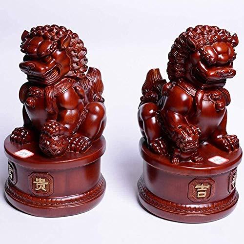 DCLINA Feng Shui Fu Foo Perros Resina Leones Beijing Estatuas Guardián los espíritus malignos Decoración Ward Atrae la Riqueza y la Buena Suerte par