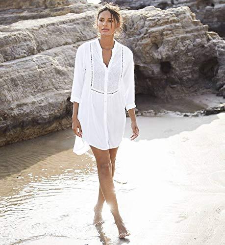 NFASHIONSO Women's V-Neck Swimsuit Beach Cover Up Shirt Bikini Beachwear Bathing Suit Beach Dress