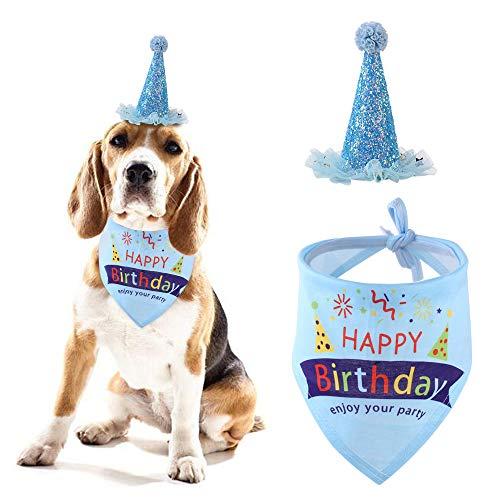 Amasawa Hund Geburtstag Bandana Schals Party Pet Dreieckstuch Hund Geburtstag Feier Zubehör Hund Geburtstag Hut Set,Welpe Geburtstag Dekor (Blau)